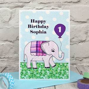 'Elephant' Personalised Childrens Birthday Card - shop by category