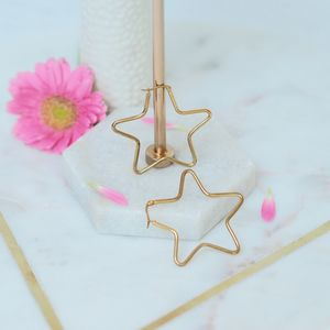 Star Hooped Earrings - earrings
