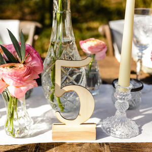 Wooden Calligraphy Table Numbers - table numbers