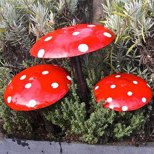 Set Of Three Toadstool Garden Sculptures