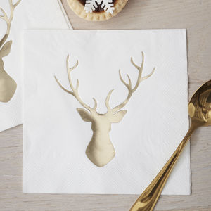 Gold Foiled Stag Napkins - tableware
