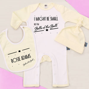 'Belle Of The Ball' Personalised Baby Gift - clothing