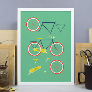 Bicycle With Light Print Green
