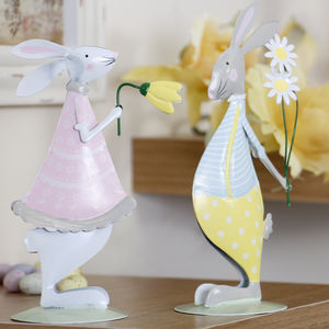 Set Of Two Mr And Mrs Bunny Easter Decorations - children's easter