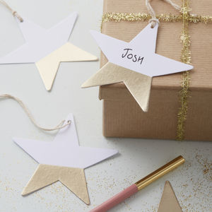 Gold Foiled Dipped Star Gift Present Tag - ribbon & wrap