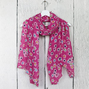 Bright Floral Print Scarf - women's accessories sale