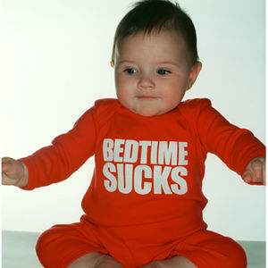 Bedtime Sucks Sleepsuit All In One Red