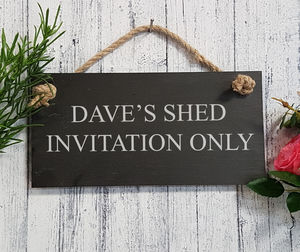 Personalised Engraved Slate Shed Sign - personalised