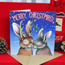 A Winter's Kiss Rabbits Illustration Christmas Card