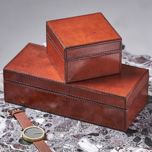 Personalised Classic Leather Watch Box
