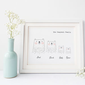 Personalised Family Print With Polar Bears - for new mums