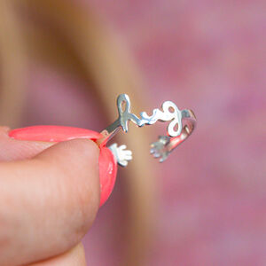 Sterling Silver Hug Adjustable Ring