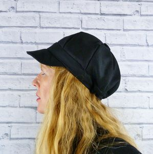 Black Wool Baker Boy Hat