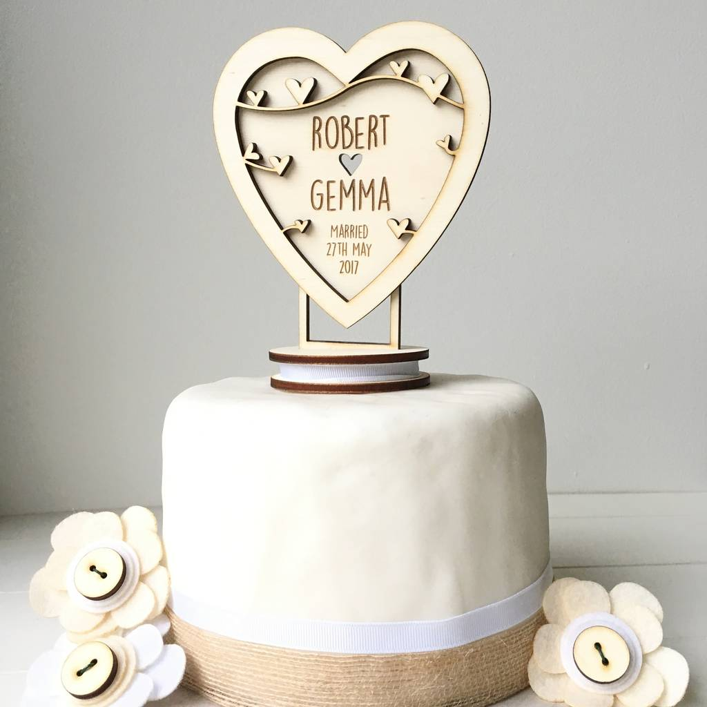 Personalised Heart Wedding Cake Topper