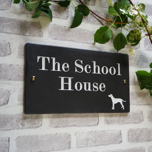 British Slate Traditional House Sign With Animal - art & decorations