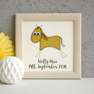 Personalised Horse Embroidered Framed Art