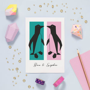 Personalised Penguins Valentine Card