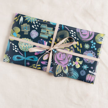 midnight floral wrapping paper by Ink Paint Paper
