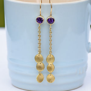 Amethyst And Petal Drop Earrings In 18ct Gold