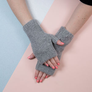 Cashmere Blend Fingerless Gloves In Grey - hats, scarves & gloves