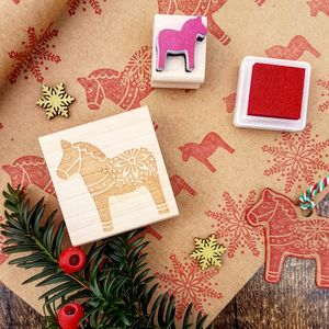 Nordic Dala Horse Christmas Rubber Stamp - cards & wrap