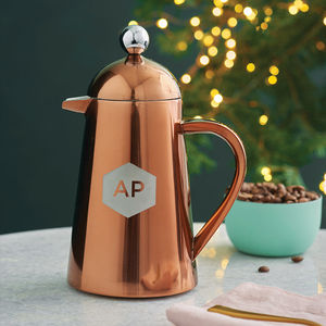 Personalised Geometric Copper Coffee Pot - gifts for her