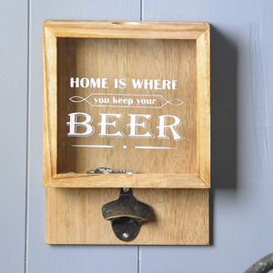 Wall Mounted Wooden Beer Bottle Opener - drinks connoisseur