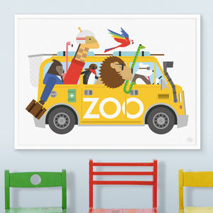 Zoo Van Escape Print - animals & wildlife