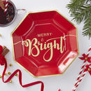 Gold Foiled Merry And Bright Paper Plates Red And Gold