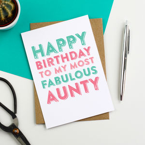 Happy Birthday Fabulous Aunty Greetings Card - birthday cards