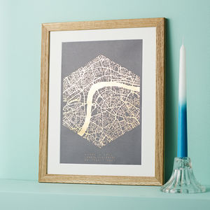 Metallic Personalised Map Print - gifts for him