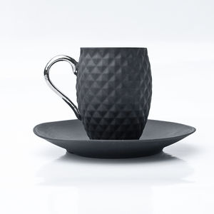 Black Coffee Cup With Silver Or Gold Handle - cups & saucers