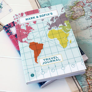 Personalised World Map Travel Journal - writing