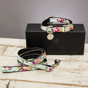 The Barnes Blue Floral Dog Collar And Lead Set - dog leads & harnesses