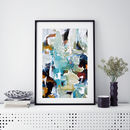 Contemporary Blue Abstract Art Large Poster Framed