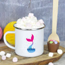 Enamel Mermaid Mug With Hot Chocolate Stirrer