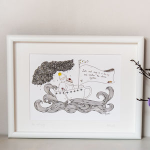 'Let's Sail Away In A Teacup' Illustration Print - children's pictures & paintings