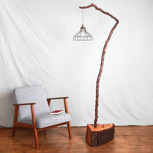 Handmade Wooden Floor Light With Metal Caged Shade - lighting