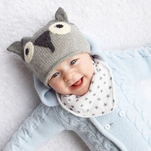 Organic Cotton Dribble Bib Grey Star