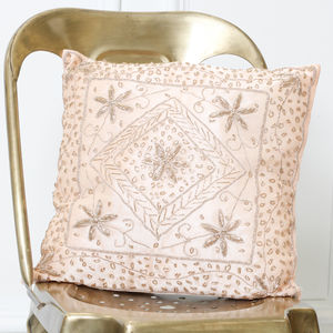 Apricot Embellished Cushion