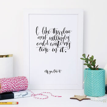 Monochrome Calligraphy 'This Place' New Home Print