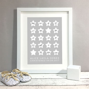 Stars Personalised Christening Guest Book Print