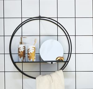 Circular Bathroom Shelf With Mirror