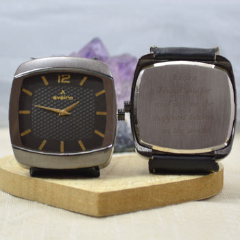 Engraved Wrist Watch Square Dial