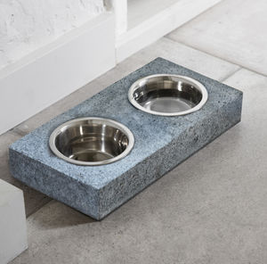 Set Of Two Granite Pet Bowls