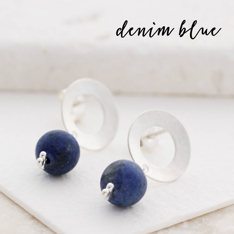 itm earrings cz stone silver sterling zirconia navy gemstone blue cubic womens round stud