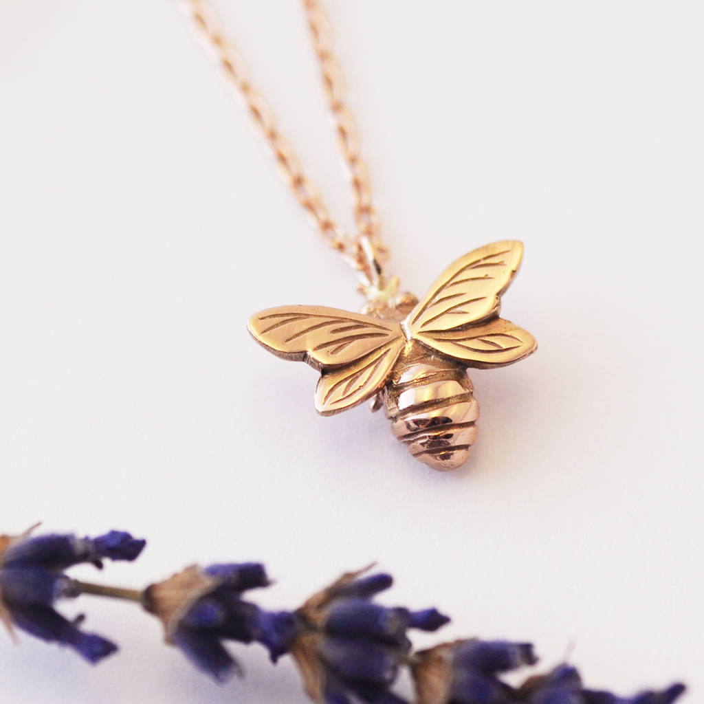 gold solid bumble product in bee biancajones original necklace