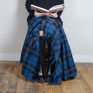 Classic Wool Knee Blanket In Ramsay Blue Tartan - bedroom