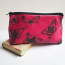 Soft Leather Butterflies Makeup Bag