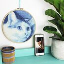 Blue Custom Pet Portrait Cross Stitch Kit, Craft Gift